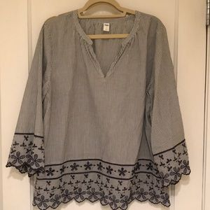 Old Navy top with pinstripes and flower detail
